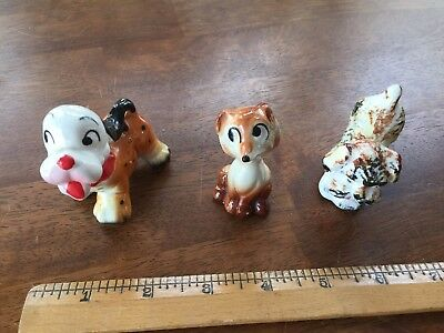Vintage Ceramic Dog and Fox Figurines Lot Of 3 Made in Japan