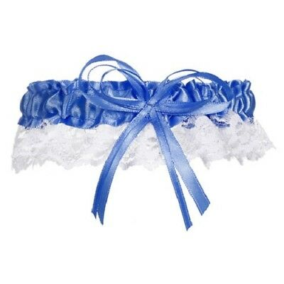 Blue New Cobalt Blue Satin & Lace Bride's Wedding Bridal Garter Toss