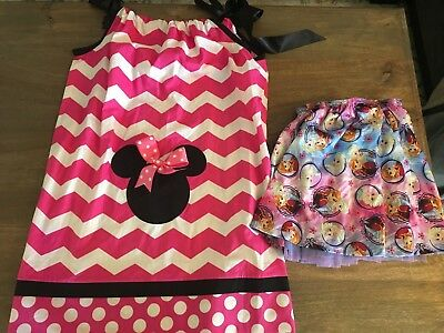Girls 6/7 Minnie Mouse Pink White Dress and Disney Frozen Elsa and Anna Skirt