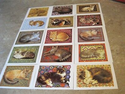 Cat Postcards Set of 15 by Lesley Ann Ivory 1989 Unused