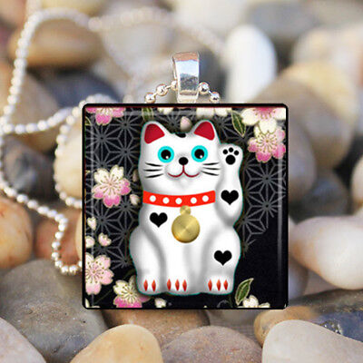 JAPANESE LUCKY CAT Maneki Neko Lucky Fortune Cat Glass Tile Pendant Necklace