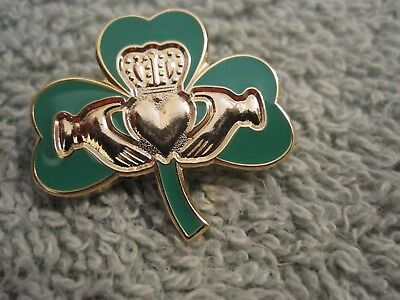 "Irish Green ""Shamrock & Claddagh"" Pin/Badge Sons of Ireland True Irish Green"