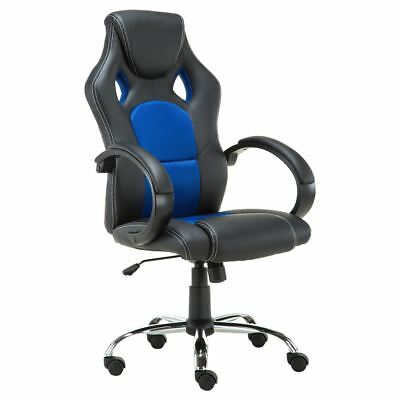 PRIX SPORTS RACING CAR OFFICE CHAIR, LEATHER with MESH, CHROME BASE BLUE