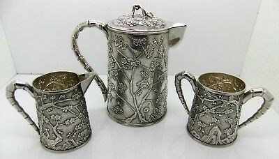 Rare Chinese Export Silver 3 piece PRUNUS and 'CRACKED ICE' tea set. SIGNED 1900