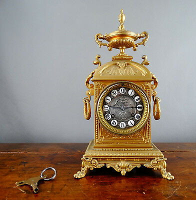 Antique Victorian French Mantel Clock in Gilt Metal Case Bell Chiming 8 Day 1880