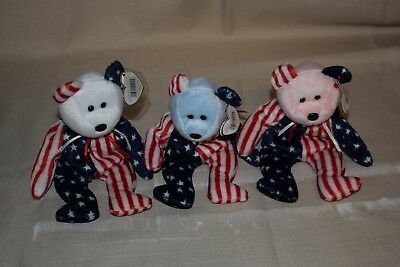 SPANGLE RED, WHITE & BLUE SET of 3 TY BEANIE BABIES Bears Patriotic MWMT New
