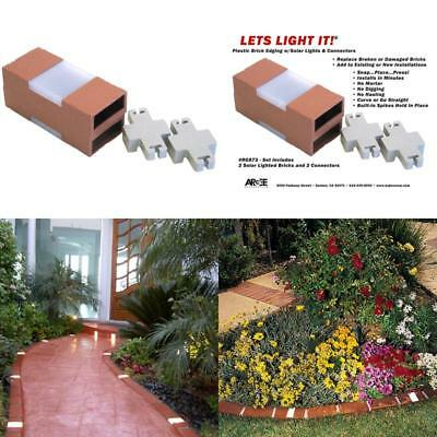 Elegant Letu0027S Edge It! Decorative Plastic Brick Edging With Built In Solar Lights,  Terra Images
