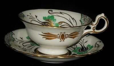 Royal Chelsea Tea Cup Saucer Green Flowers  Gold Leaves Design