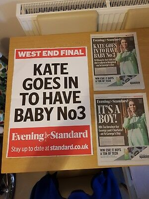 EVENING STANDARD ROYAL BABY 23APRIL 1st and second eddition and poster Bill kate