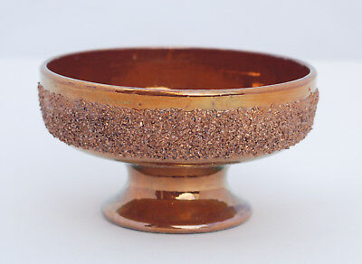 Rare Antique 19th Century GRANULATED BORDER COPPER LUSTRE FOOTED BOWL