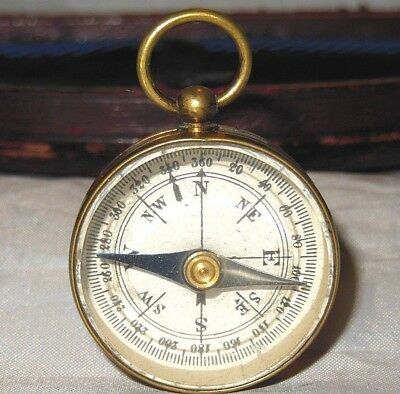 Antique Compass French Antique Pocket Travelling Compass Dry Card c1900