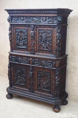 18th Century Beeldenkast Antique Armoire Cabinet Hand Carved Bar Cupboard