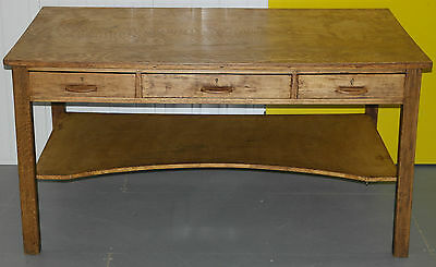 Stunning Restored Antique 1930's Solid Oak Shop Counter Desk Stripped And Waxed