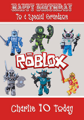 LARGE A5 GLOSSY PERSONALISED ROBLOX BIRTHDAY CARD
