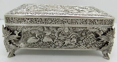 Chinese Export solid silver CASKET/BOX. FOO DOGS. ANTELOPES, BIRDS. SIGNED C1900