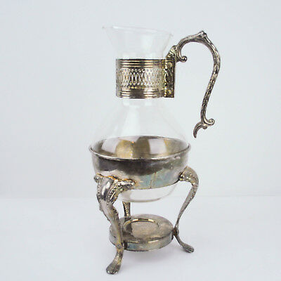 VTG Glass Coffee Tea Carafe Metal Silver Plated Candle Warmer Stand 13""