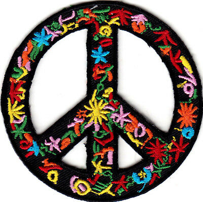 Flower Peace Sign Biker Love Woodstock Peace Iron On Embroidered Patch
