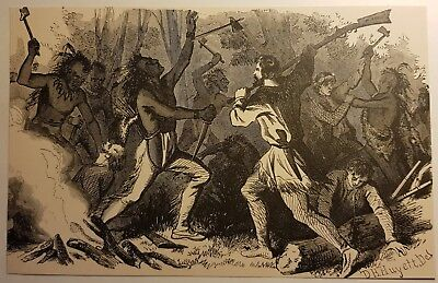 Very Early Rare Antique Print Col. DH Huyett Battle at Bloody Creek 1800's