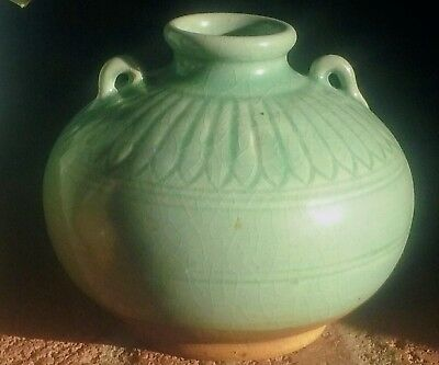 Gourgous Rare Etched Qing Bai Shadowy Blue -Green Glaze Chinese Porcelain Pot