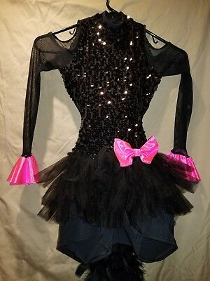 Weissman dance costume. Size IC. Black sequin with pink accents. Cat outfit.