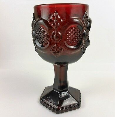 Avon Cape Cod Ruby Red Collection Wine Goblet Vintage Roman Rosette Glass #109