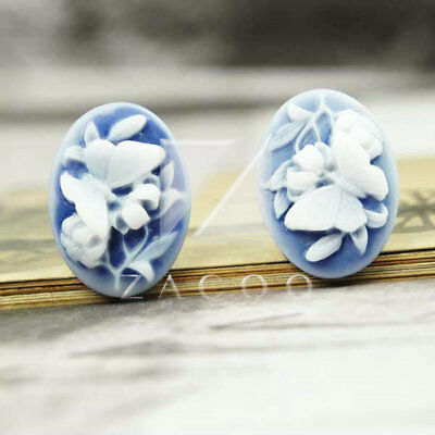 5pcs 23.5x17mm Resin Cabochons Flatback Butterfly Shape Flower Cameo PurpleRB524
