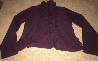 389a5df5fd601 Apt 9 Sweater Womens Size large Purple Fly Away Cardigan Wool Open Front  Ruffle
