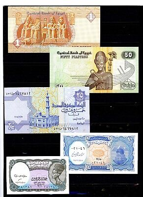 Egypt Set of 5 CRISP Uncirculated Banknotes 5,10, 25 & 50 Piastres + 1 Pound