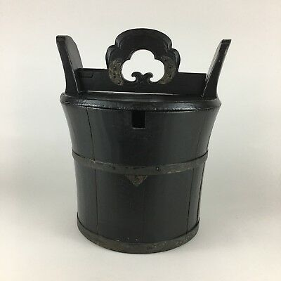 Antique Chinese Food Carrier/ Basket/ Box -Black Painted Wood / Gorgeous Patina!