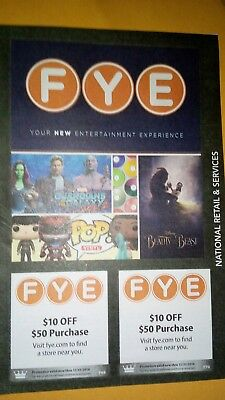 2 - FYE Coupons. 2 - $10 off $50 Expires 12/31/2018
