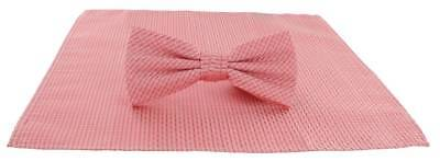 Michelsons of London Semi Plain Bow Tie and Pocket Square Set - Coral