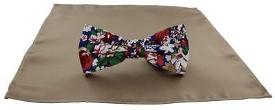 Michelsons of London Contast Floral Bow Tie and Plain Pocket Square Set - Taupe