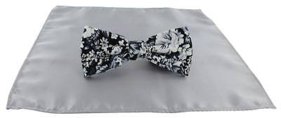 Michelsons of London Contast Floral Bow Tie and Plain Pocket Square Set - Silver