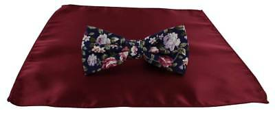 Michelsons of London Contast Floral Bow Tie and Plain Pocket Square Set - Wine