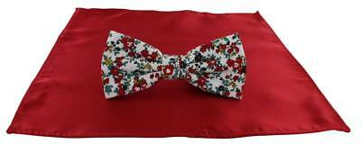 Michelsons of London Contast Floral Bow Tie and Plain Pocket Square Set - Red