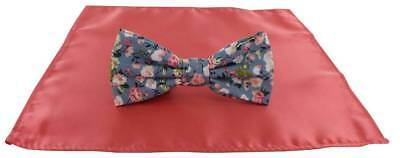 Michelsons of London Contast Floral Bow Tie and Plain Pocket Square Set - Coral