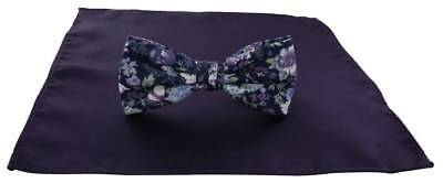 Michelsons of London Contast Floral Bow Tie and Plain Pocket Square Set - Purple