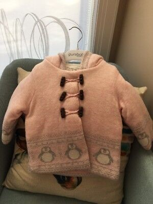 Purebaby 0 6-12 Mths Icicle Penguin Arctic  Pink Girls Coat Jacket New Wth Tags