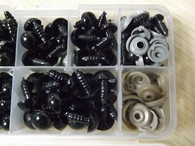 100Pc/Set 6-12mm Plastic Safety Eye For Teddy Bear Doll Animal Puppet Toy Black