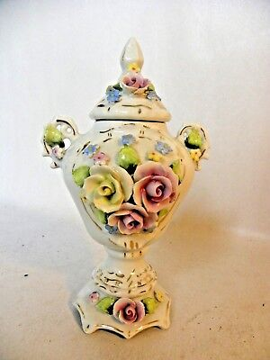 Antique miniature ornate urn vase gilt floral decor Orben Knabe & Co Thuringia