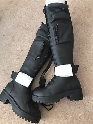 862fabaff1700 New dollskill Vegan leather boots Obsidian Pocket Combat Knee High Black