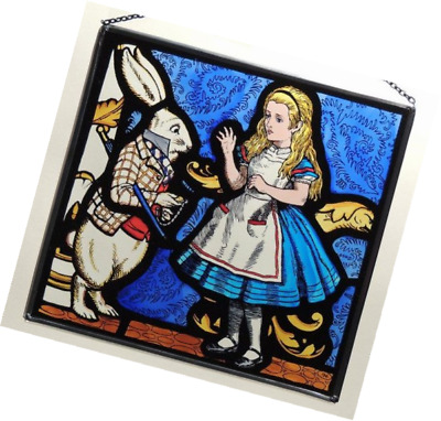 Decorative Hand Painted Stained Glass Rectangular Panel in an Alice and White Ra