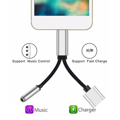 2 in1 Lightning To 3.5mm Jack Adapter Charging Splitter Audio Cable For iPhone 7