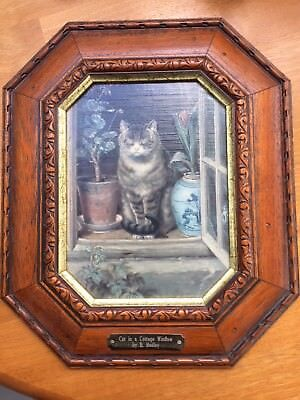 Cat in a Cottage Window - R Hedley Textured repro print / imitation oil painting