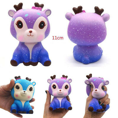 Cute Galaxy Deer Squishies PU Squeeze Toy Stress Reliever Slow Rising Gift Q