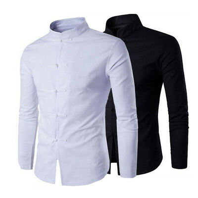 2Mens Shirt Chinese Traditional Style Men Solid Color Mandarin Collar Male Shirt