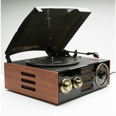 GPO Empire Vintage Retro Record Player Turntable with Built-in AM/FM Radio