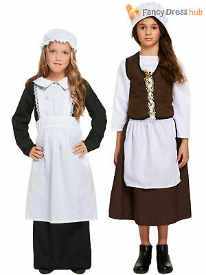 Girls Victorian Maid Costume Childs Poor Edwardian Fancy Dress Outfit Book Day