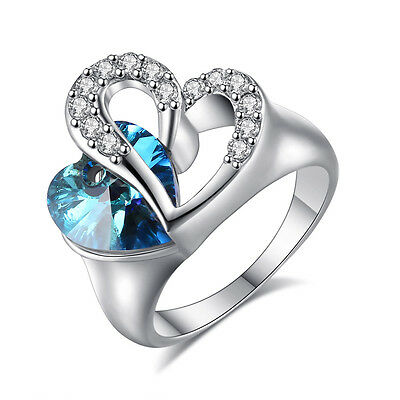 promise White Gold Filled Silver sapphire Clear Crystal Womens Heart Ring