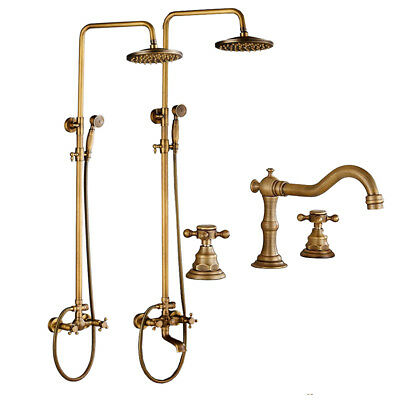 "Rainfall Shower Tub Faucet Set 8"" Top Showerhead  Handheld Spray Antique Brass"